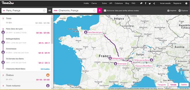 Itinerários possíveis para o roteiro de viagem