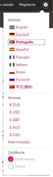 Rome2rio alterar moeda