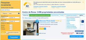 Tela com resultados de pesquisa no Booking.com