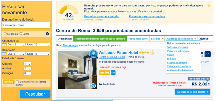 Tela com resultados de pesquisa no Booking.com (reservar hotel)