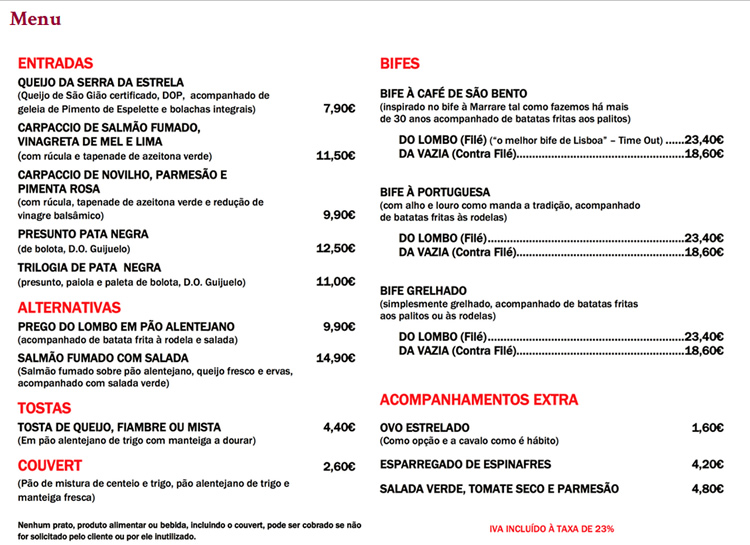 Menu Cafe De Sao Bento